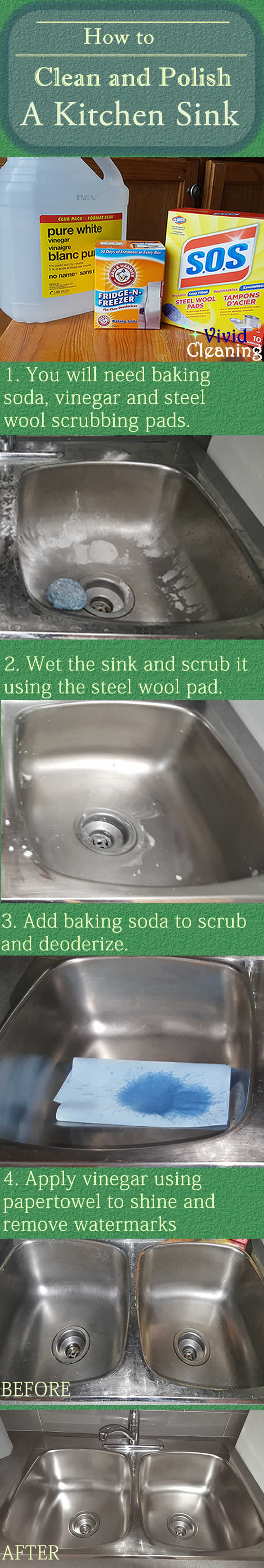 How to Clean Stainless Steel Sink Stains Naturally with Baking ...