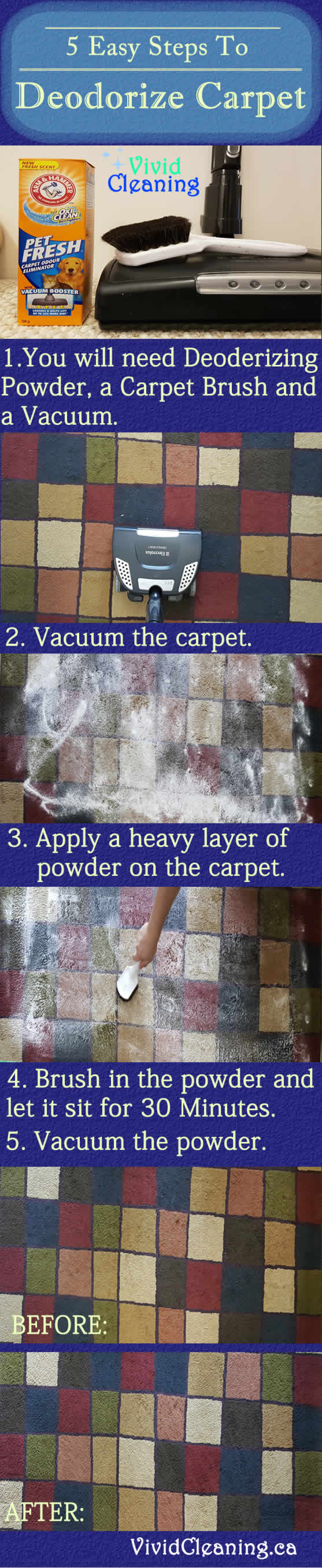 5 Easy Steps To Deodorize Carpet 1.You will need Deodorizing Powder, a Carpet Brush and a Vacuum. 2. Vacuum the carpet. 3. Apply a heavy layer of powder on the carpet. 4. Brush in the powder andlet it sit for 30 Minutes. 5. Vacuum the powder.