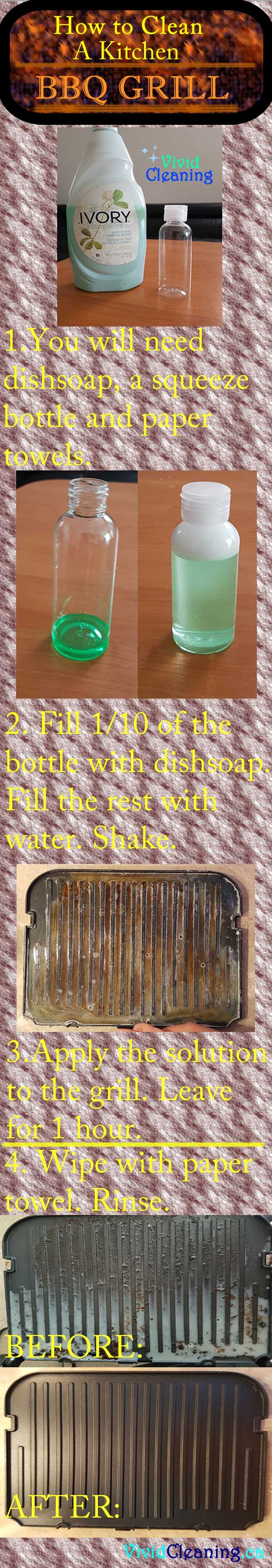 You will need liquid dish soap, a squeeze bottle, and paper towels. Put 1/10th or 10 ml of liquid soap in the squeeze bottle. Fill the rest of the bottle with water. Shake up the contents. You can choose to wipe some of the grease off the bbq grill using paper towels. You can apply the soap solution even if you choose not to wipe off the extra grease.