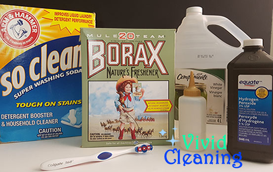 1.-You will need: -Borax 6 g -Baking Soda 17 g -Washing Soda 9.6 g -Vinegar -Hydrogen Peroxide 100ml -Toothbrush -Squeeze Bottle 2.Mix everything except the vinegar together. Pour into the squeeze bottle. Place solution on the grout. Let it sit for 30 minutes. Scrub the grout with a toothbrush. Rinse with vinegar.